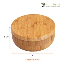 Totally Bamboo Box Salt Keeper Duet, Bamboo Container with Magnetic Lid for Secure Storage
