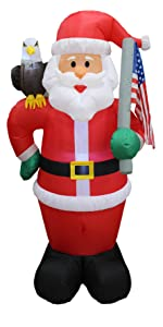 6 Foot Tall Lighted Christmas Inflatable Patriotic Santa Claus with Eagle