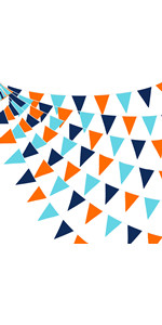 Navy Blue Orange Pennant Banner Fabric Triangle Flag Cotton Bunting Garland