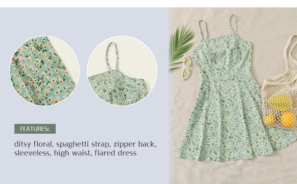 Women's Ditsy Floral High Waist Cami Short A Line Dress