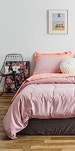 light pink washed cotton duvet cover set