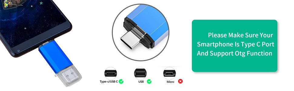 Type C Flash Drive Pen Drive Memory Stick Photo Stick for USB-C Smartphone
