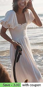 Boho White Flowy Dress