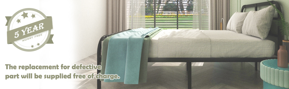 ONEMO 14 Inch Queen Bed Frame with Headboard and Footboard,Metal Bed Frame