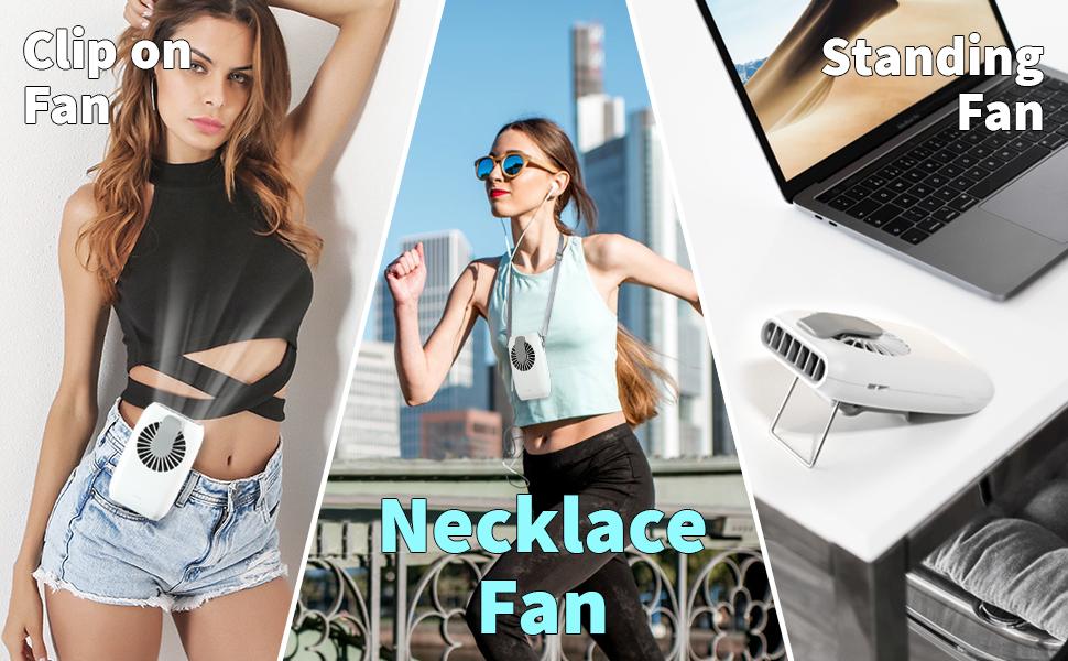 Sagekia Handhled Fan, Mini Portable Fan Outdoor, Necklace Fan, Personal USB Fan, Portable Mini Fan