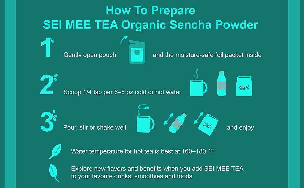 How to use SEI MEE TEA Sencha Powder graphic