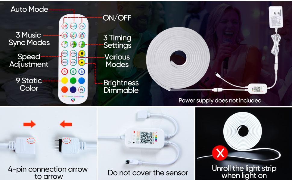 shine decor led neon lights dimmable rgb color smart led strip lights