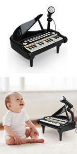 baby piano 24 keys black