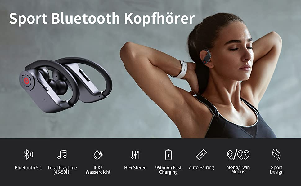 Bluetooth Kopfhörer Sport, In Ear Kopfhörer Kabellos Wireless Earbuds