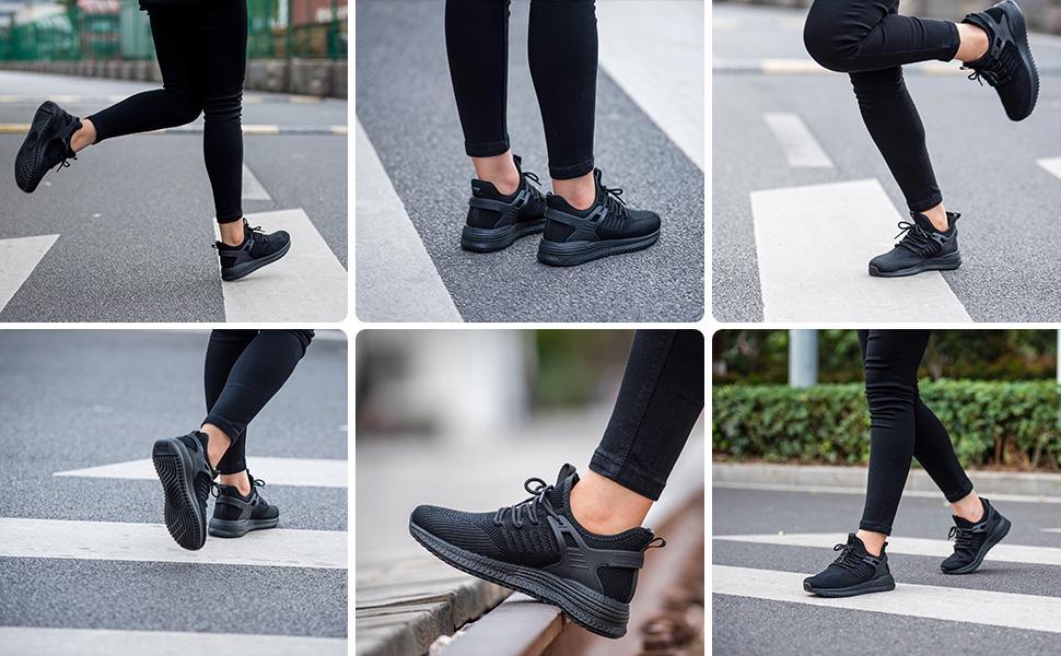 running shoes women tennis walking sneakers ladies lightweight casual black fashon athletic shoes