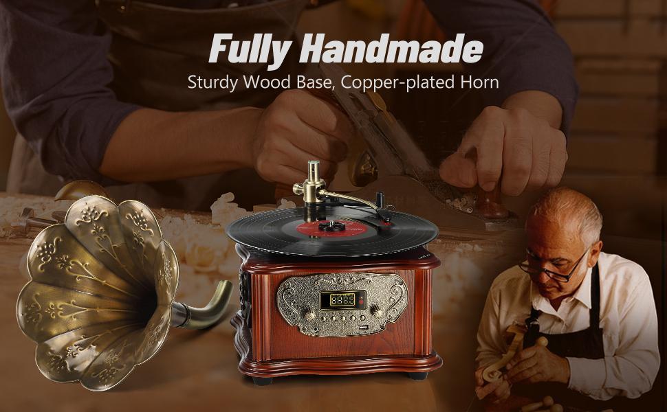 Fully Handmade-sturdy wood base, copper-plated horn.