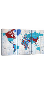 Extra Large World Map Wall Art for Living Room