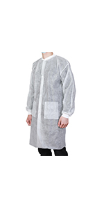 disposable white lab coat with pockets
