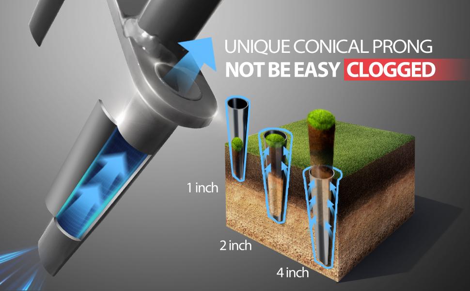 No clog lawn core aerator