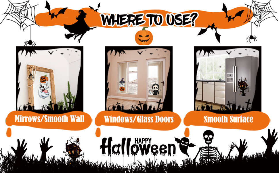 Halloween Window Clings for Glass Windows Decals Stickers Removable Halloween Party Decorations