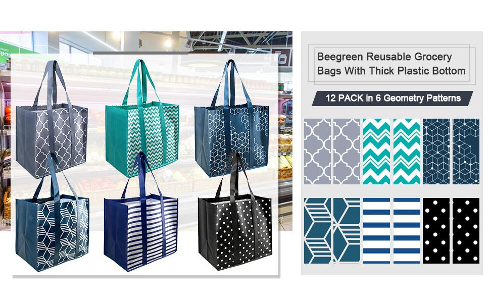 Reusable Grocery Bags 12 Pack