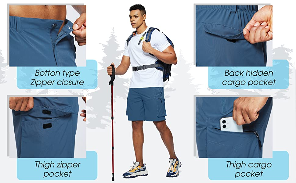 mens hiking cargo shorts with multi pockets