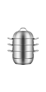 3-Tier 12.6 Inch (Outer diameter) 304 Stainless Steel Steamer