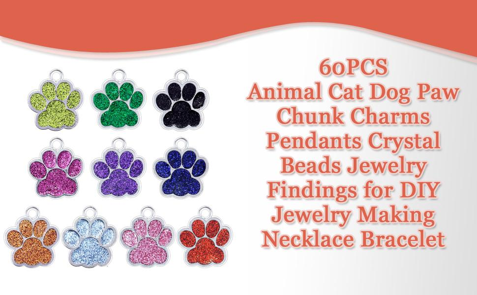 RONYOUNG 60PCS Animal Cat Dog Paw Chunk Charms Pendants