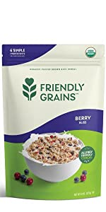 Friendly Grains Allergy Friendly Cereal. Puffed Brown Rice with freeze dried fruit.