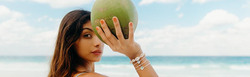 girl coconut bracelets jewelry beach