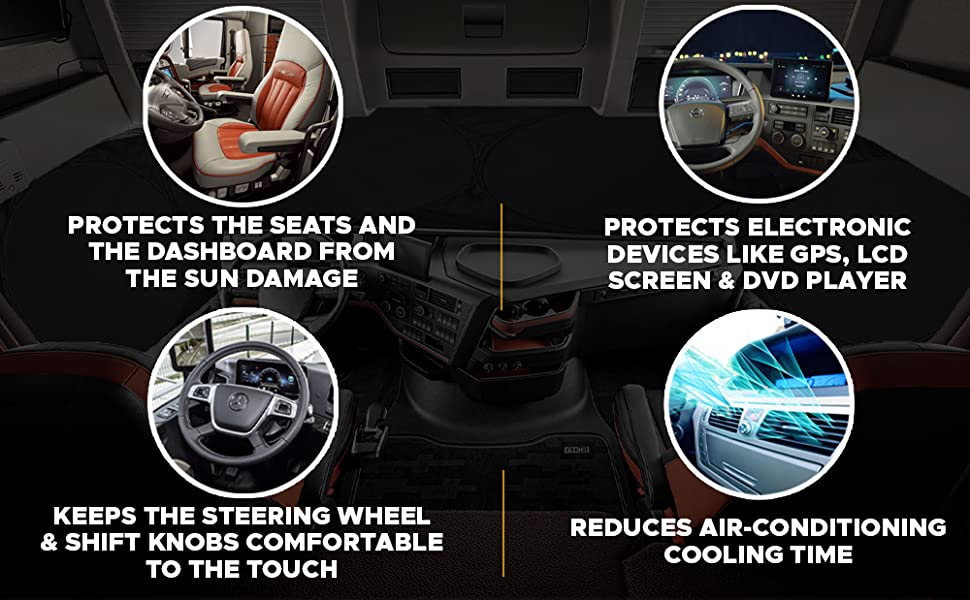 Semi Truck Sunshade - Total Coverage - Sun Protection Shades for Truck Windows