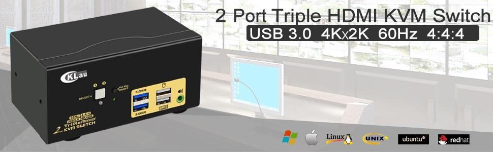 CKLau 4Kx2K@60Hz 2 Port Triple Monitor USB 3.0 HDMI KVM Switch with Cables and Audio