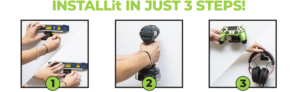HIDEit Mounts Wall Mount are easy to install. Universal Headset Mount installs in 3 easy steps.