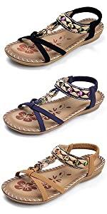 Comfy Elastic Ankle Strap Flats Sandals for Women Casual Gladiator Bohemian Rhinestone Shoes