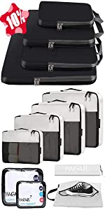BAGAIL 8 Set Packing Cubes+4 Set Compression Packing Cubes