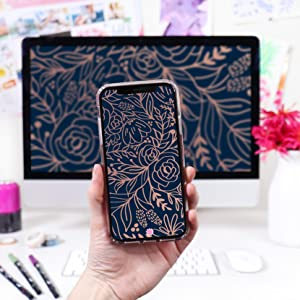 bloom Digital Wallpaper backgrounds for phone computer Navy Embroidery