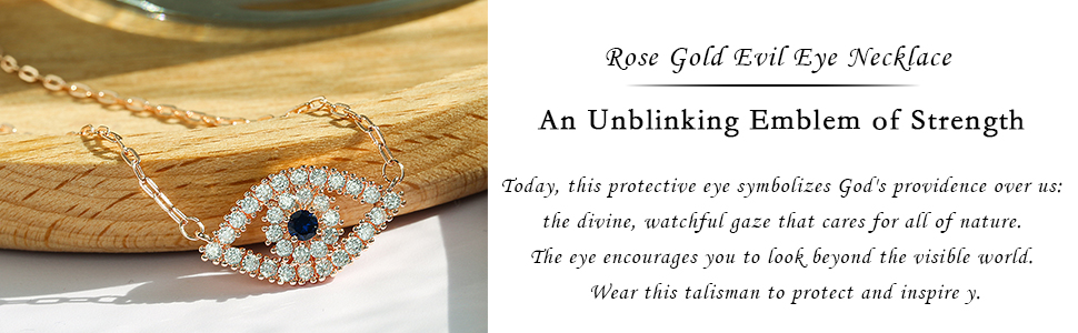 rose gold plated evil eye necklace for women