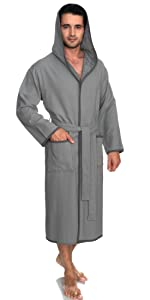 TowelSelections Men's Robe, Cotton Lined Hooded Terry Bathrobe