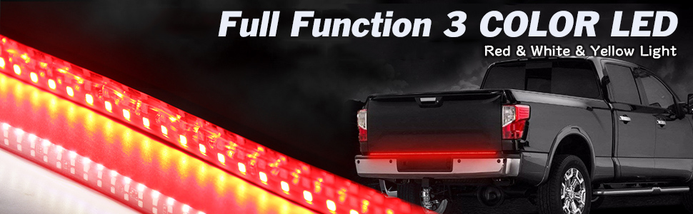 tailgate light bar emits low Red light for running, Bright Red for braking, Amber for turning signal