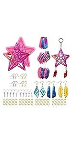 112 Pcs Keychain Resin Molds, Star Design Dream Catcher Resin Molds
