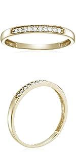 Vir Jewel  1/10 cttw Diamond Wedding Band in 10K Yellow Gold 10 Stones Prong Set