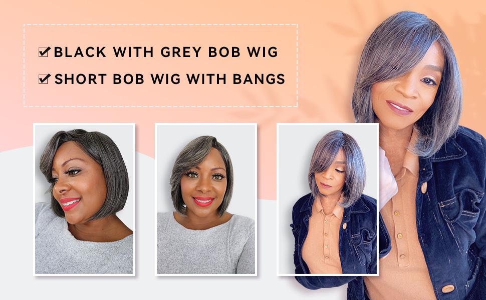 black with grey bob wig