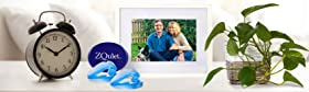 founders in a photo frame on a bedside table with mouthpiece alarm clock and plant