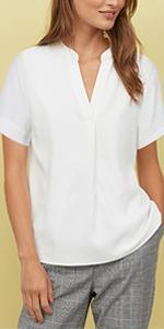 Timeson Womens Chiffon Sleeveless Blouse Tops Pleated Front Office Work Shirts