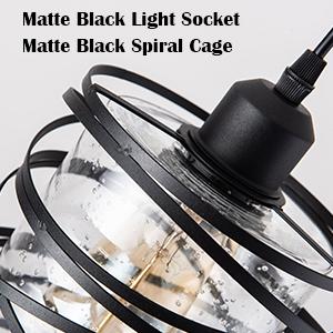 matte black light socket and seeded glass shade