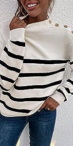 Women Turtleneck Striped Knit Sweater