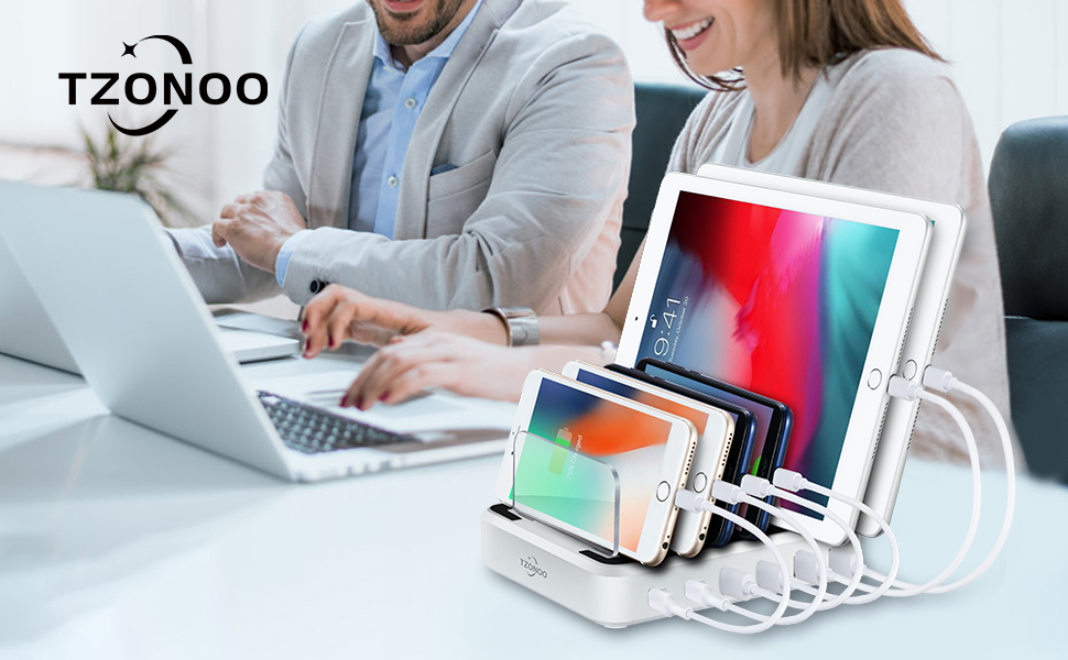TZONOO USB Charging Station Dock for Multiple Devices,6-Port Desktop Charger,Charging Stand