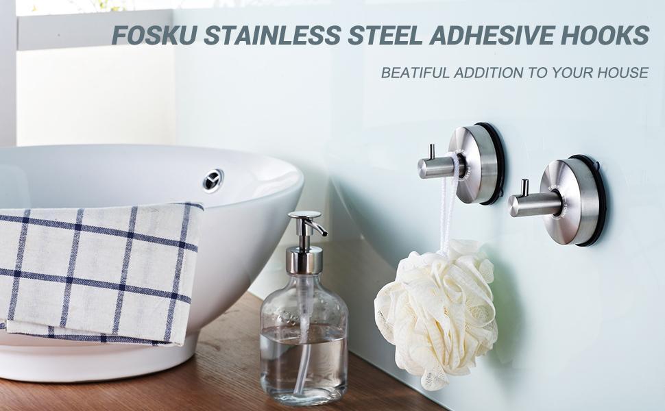 FOSKU STAINLESS STEEL ADHESIVE HOOKS