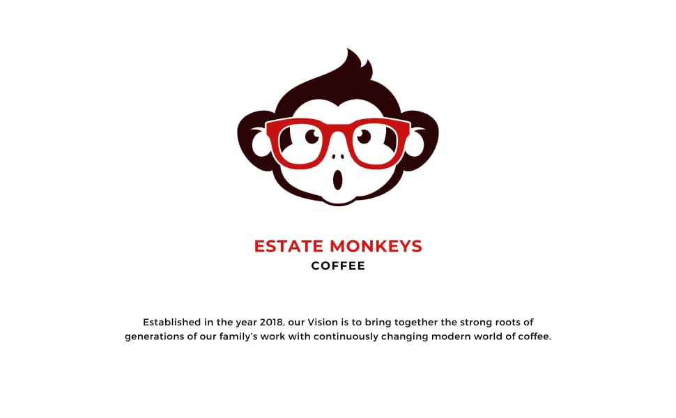 logo, estate monkeys, monkey logo, spectacles, red, black, monkey, funky, vision, company, aim