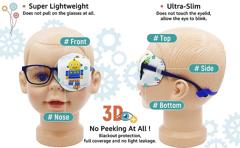 3D eye patch for kids boys glasses blue red robot astronaut left eye full coverage no peeking
