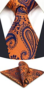 Orange Paisley Necktie Set for Men