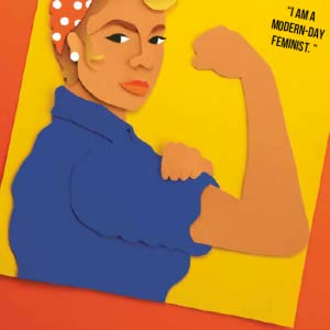 A person posing in the iconic feminist strong arm pose.