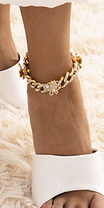 gold butterfly cuban link chain anklet