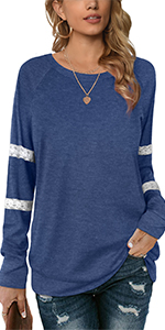 Lace Striped Long Sleeve Tops