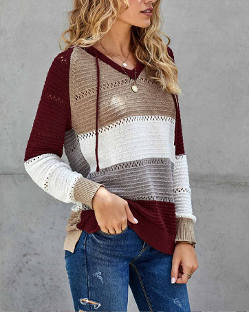 NEYOUQE Womens Long Sleeve Color Block Pullover/Cardigan Sweaters Striped Tops Casual Hoodies